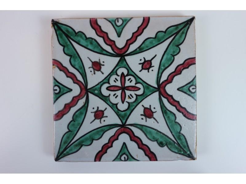 Coppia 2 piastrelle arte moresca firmata fes maiolica argilla fatto