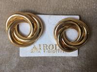 ORECCHINI DONNA CARLO ZINI PIETRA ROSSA CLIP VINTAGE EARRINGS GOLD COLOUR